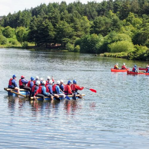 raft building and canoeing at Cod Beck Reservoir
