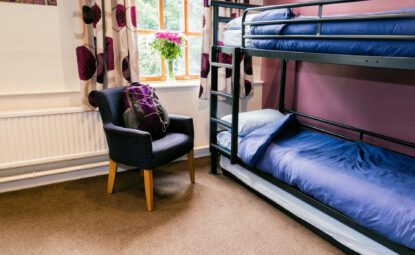 bunk beds in spacious room