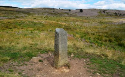 Lyke Wake Walk stone marker on moorland