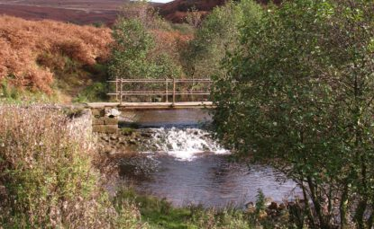 stream running across moorland